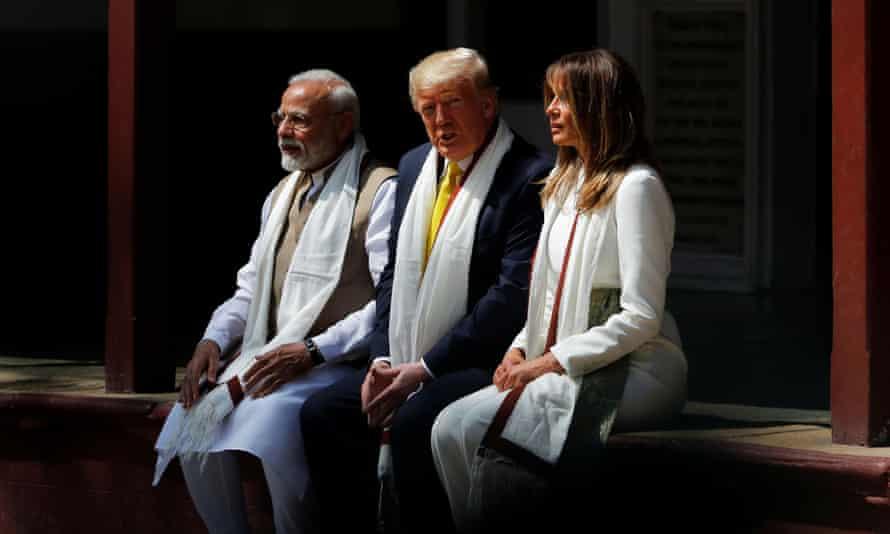 The Trumps and Modi visit the Sabarmati Ashram in Ahmedabad.