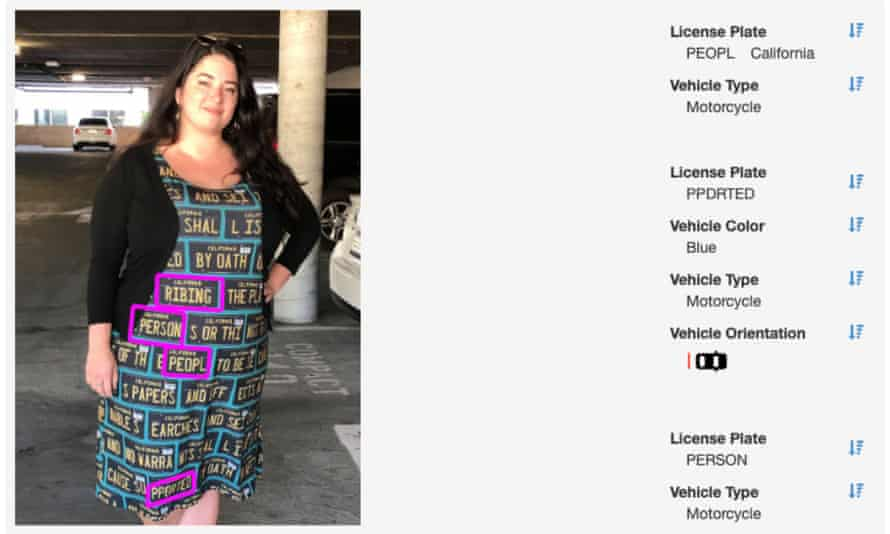 The Adversarial fashion dress, as seen by an ALPR system