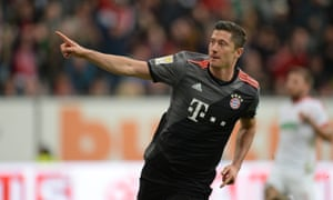 Robert Lewandowski celebrates the first of his two goals against Augsburg.