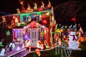 A house in Brentry, Bristol, where the building is decked out with thousands of festive bulbs and displays each year