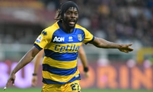 Gervinho, celebrating after scoring for Parma against Torino, says: 'Everyone thought I went to China to retire and get paid.'