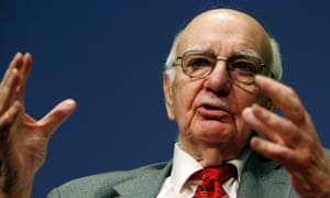 Paul Volcker addresses the Bretton Woods Committee annual meeting at World Bank headquarters in Washington, 2014.