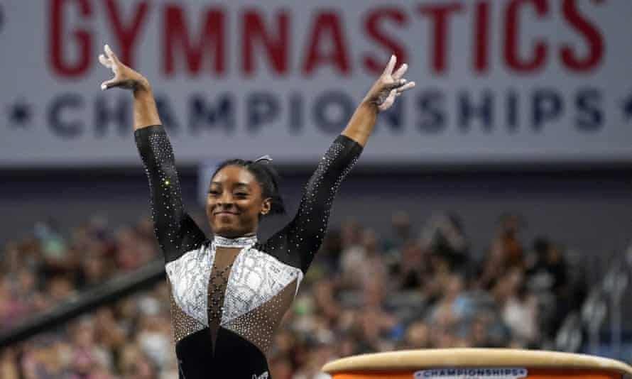 Simone Biles celebrates after competing in the vault during the US Gymnastics Championships in Fort Worth, Texas, on Sunday.