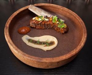 24 hour slow cooked beef short rib with a Turkish chilli BBQ glaze. Ruya Restaurant, London W1K 7PH
