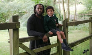 'I hope he doesn't feel out of place' … Rashid Johnson with his five-year-old son, Julius, in Bruton.