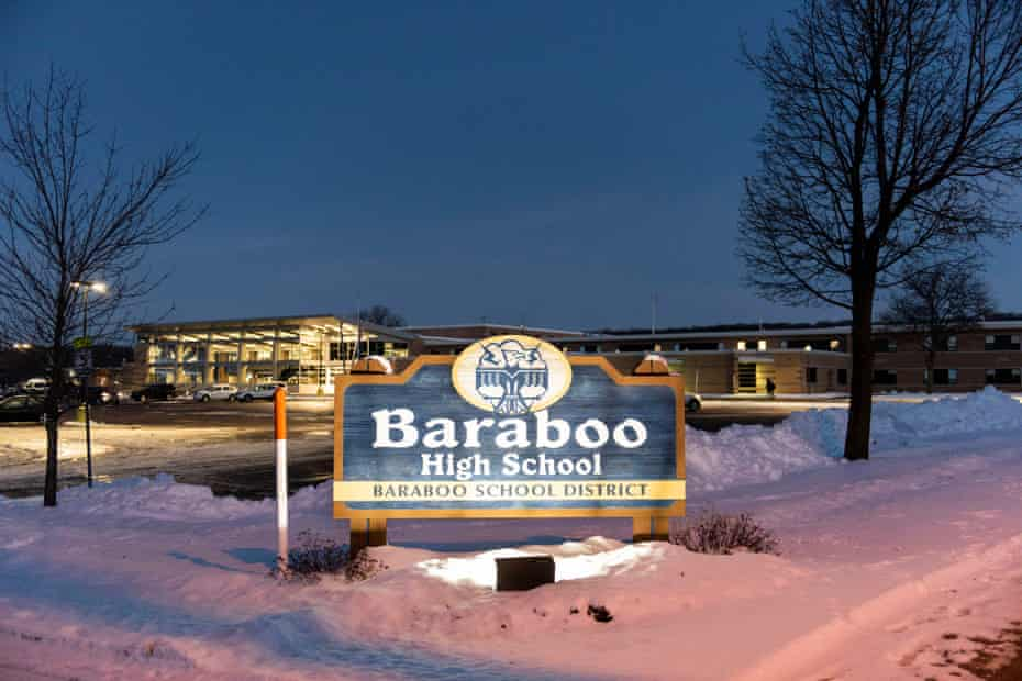 Baraboo high school in Baraboo, Wisconsin, is seen at sunrise 3 January 2019. A photo of boys from the school giving what appears to be a Nazi salute before prom went viral.