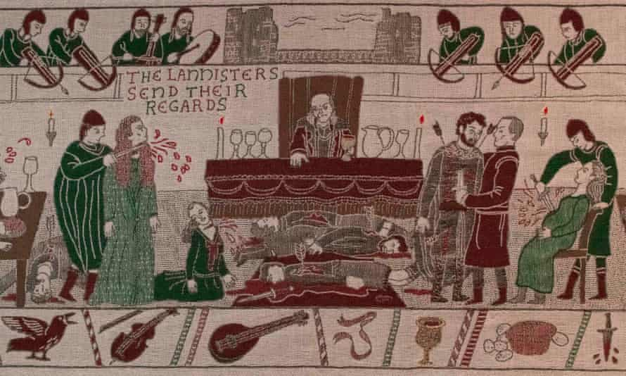 Embroidered scenes of the Game of Thrones tapestry are on show at the Ulster Museum in Belfast, Ireland, but will move to France in September.