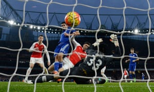 Diego Costa scores for Chelsea at Arsenal.