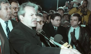 Serbian president Slobodan Milosevic speaks to thousands of supporters in Belgrade, February 1989.