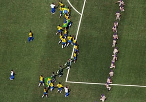 The Brazilian team celebrate after beating Italy on penalties in the 1994 World Cup final