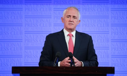 Australia's prime minister, Malcolm Turnbull, delivering his National Press Club address on Wednesday