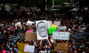 Thousands of people gathered to mourn the death of George Floyd during a march across downtown Houston, Texas.