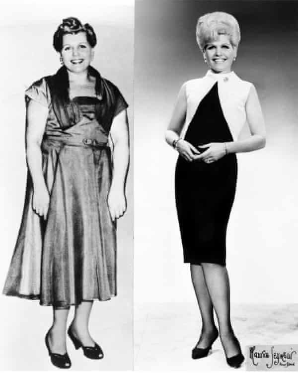 Jean Nidetch, founder of Weight Watchers, before and after losing more than 70lbs.