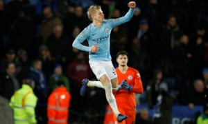 Manchester City's Oleksandr Zinchenko celebrates after scoring the winning penalty.
