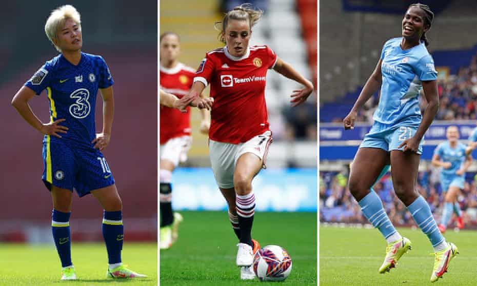 Ji So-Yun of Chelsea, Ella Toone of Manchester United and Khadija Shaw of Manchester City.