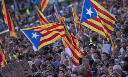 Thousands of pro-independence supporters rally in Montjuic, Barcelona, on 29 September.