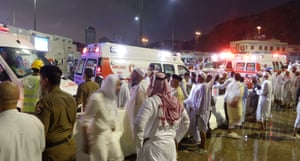 A huge construction crane buffeted by strong winds collapsed and crashed through the roof of the Grand Mosque in Mecca, the Saudi Arabia Civil Defence reports.