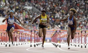 Nia Ali wins the gold medal for USA in the women's 100 meter hurdles final, as Kendra Harrison takes silver and Danielle Williams of Jamaica, takes bronze.