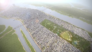 Manhattan, with a bird's-eye view over Central Park and a surprisingly leafy looking Brooklyn. Players are also able to zone their cities, restricting certain industries, such as agriculture and factories, to designated areas within the game.