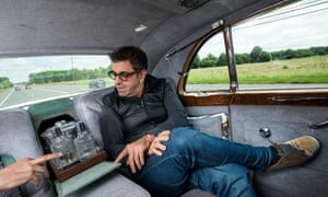 The two-time Sundance Grand Jury winner Eugene Jarecki inside Elvis Presley's Rolls-Royce on its way to Atlantic City.