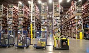 The Amazon fulfillment center in Romeoville, Illinois
