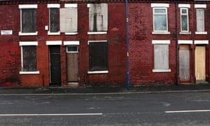 Boarded up houses in Beswick, east Manchester.