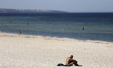Glenelg beach in Adelaide in January.