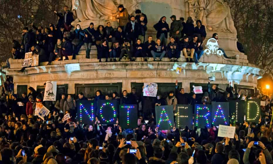 Vigil in Paris after the Charlie Hebdo attacks of January 2014