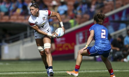 Abby Gustaitis looks to pass against Russia in Hamilton, New Zealand in January.