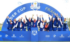 Thomas Bjørn lifts the Ryder Cup after Europe's victory at Le Golf National on 30 September 2018