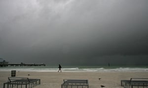Rain moves in to Clearwater Beach, Florida, on Friday.