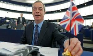 Nigel Farage in Strasbourg for an EU referendum debate.