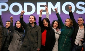 The leader of Podemos, Pablo Iglesias (third left), and his team celebrate election results in December 2015.