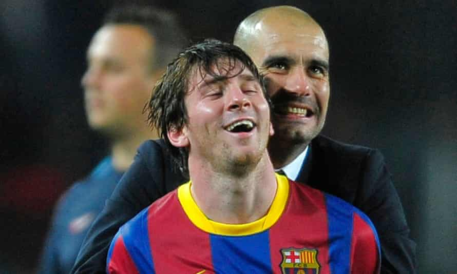 Lionel Messi and Pep Guardiola celebrate a 2011 Champions League semi-final win against Real Madrid. A reunion at Manchester City is being talked up, but is Messi what City need?