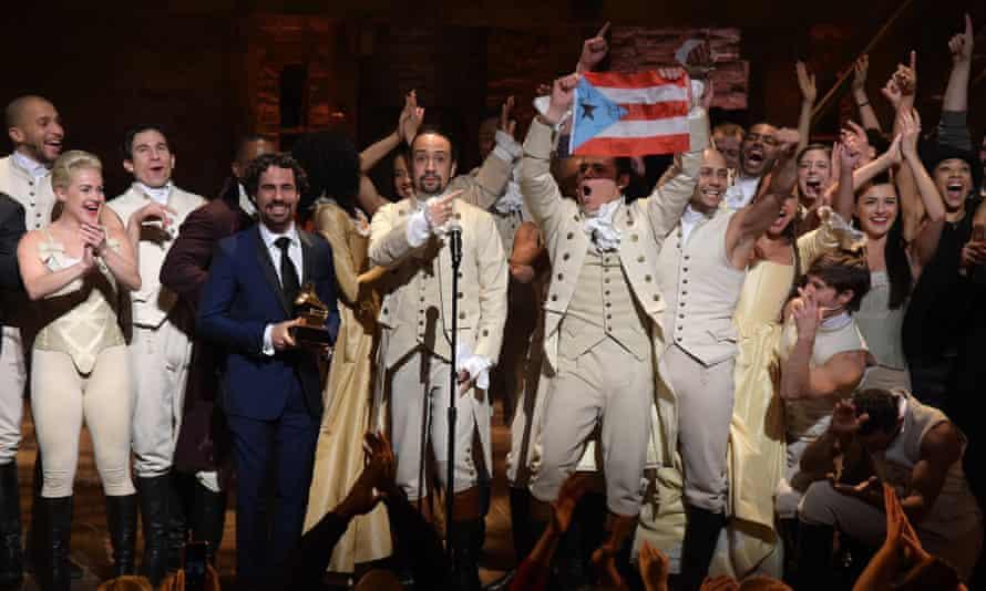 Lin-Manuel Miranda, Alex Lacamoire and Hamilton cast at the 2016 Grammy awards.