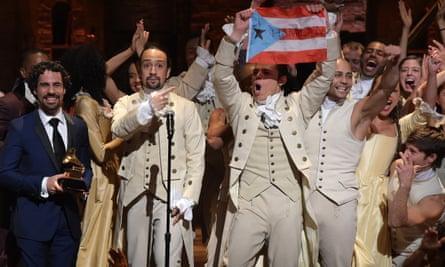 The Hamilton team celebrate their Grammy success earlier this year.