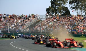 Fans at the Melbourne circuit watch the 2019 Australian Grand Prix