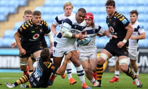 Bristol's Kyle Sinckler is tackled by Wasps' Jimmy Gopperth in Premiership semi-final