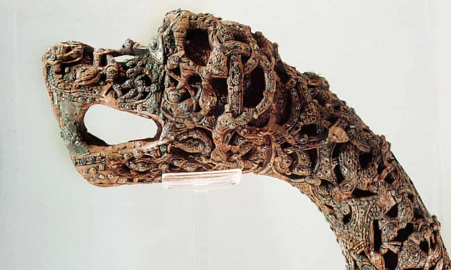 Viking carved dragon head post from the ship burial at Oseberg, c AD850
