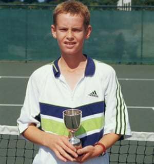 1999: Andrew Murray poses with the trophy after winning the Under 14s event during the National Junior Championships at the Nottingham tennis centre