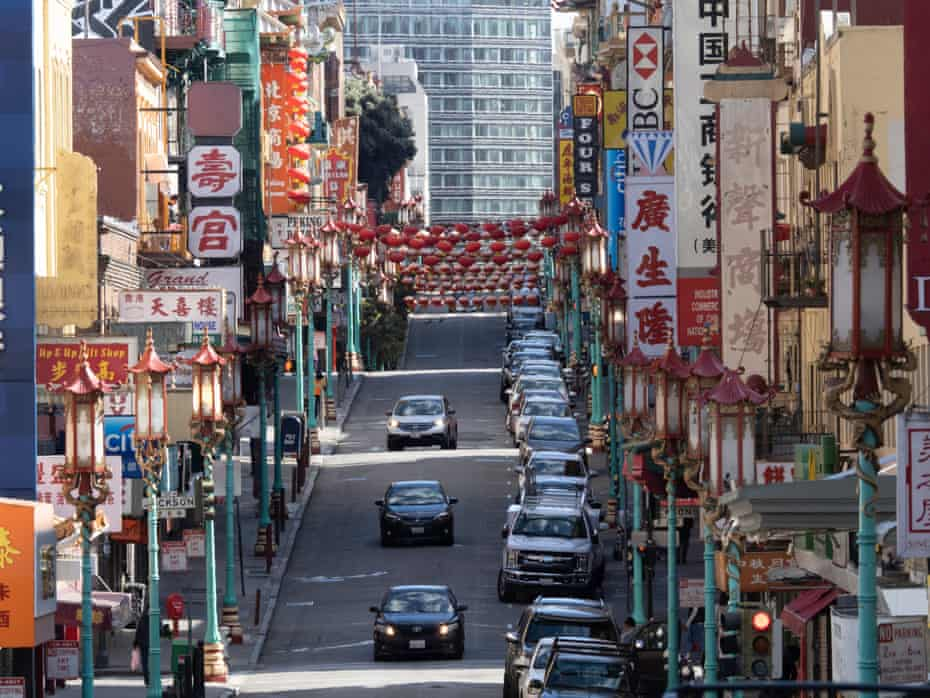 A nearly empty street in San Francisco's Chinatown in March.
