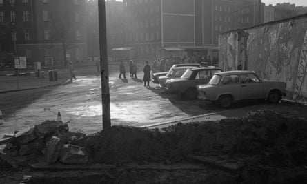 East Berliners prepare to cross to the west, 1989.