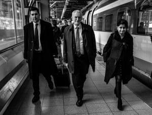 Richard Burgon, MP for Leeds East, Corbyn and shadow attorney general Shami Chakrabarti arrive on the Eurostar for the talks.