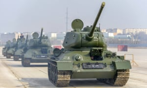 Soviet T-34 battle tanks at the Alabino firing range take part in a rehearsal of the Victory Day Parade to be held in Moscow on May despite coronavirus lockdowns around the world.