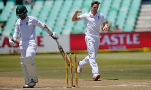 Chris Woakes celebrates after dismissing South African batsman Dane Piedt.