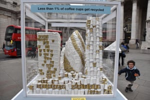 A model of London made out of coffee cups highlights the need to reduce waste