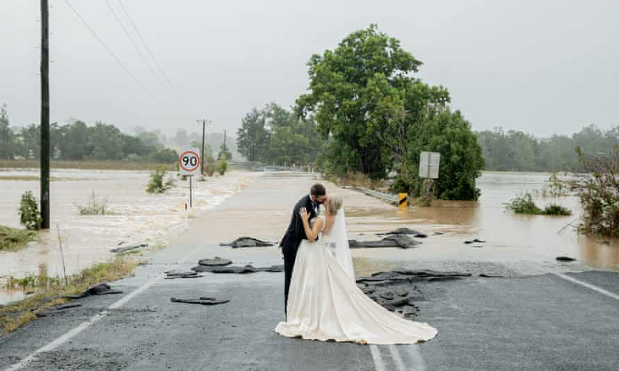 Kate Fotheringham and Wayne Bell on their wedding day on Gloucester Road Wingham.