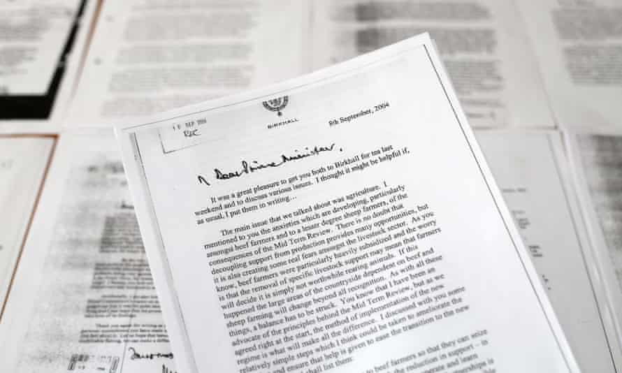 A copy of a letter written by Prince Charles to Tony Blair.