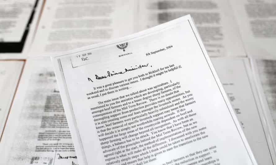 Copy of the letter Charles wrote to the prime minister Tony Blair, to influence agricultural policies.