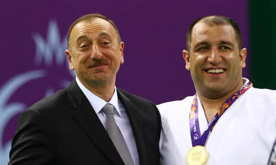 Ilham Aliyev, president of Azerbaijan, congratulates Ilham Zakiyev at European Games